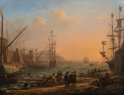 Claude Gellée, known as Claude Lorrain, Evening: A Seaport at Sunset, 1638.