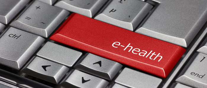 Photo of keyboard highlighting e-health