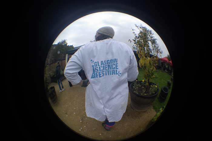 the gsf lab coat viewed through a fish eye lens