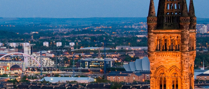 Image of the University tower and Glasgow skyline