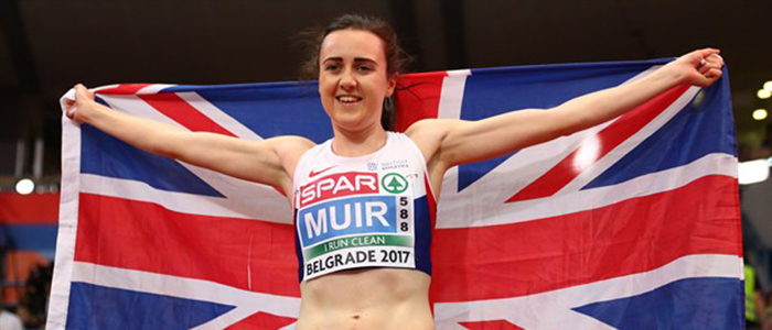 Image of Laura Muir at the Belgrade European Indoor Championships courtesy Scottish Athletics