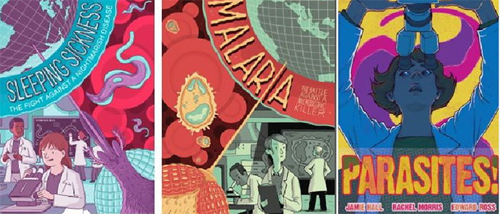 Image of comic covers from the Wellcome Centre for Molecular Parasitology (WCMP)