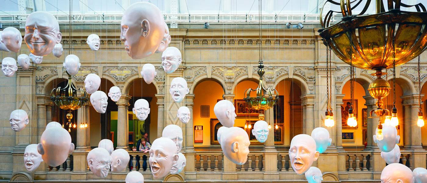 Image of floating masks installation from Kelvingrove