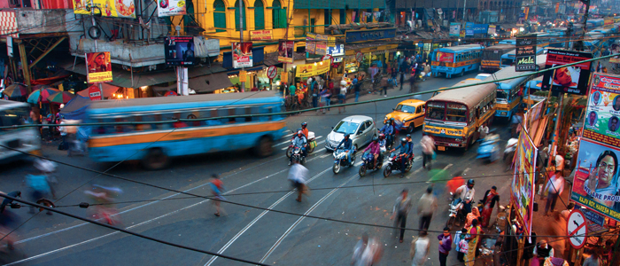 Image of a busy street in India