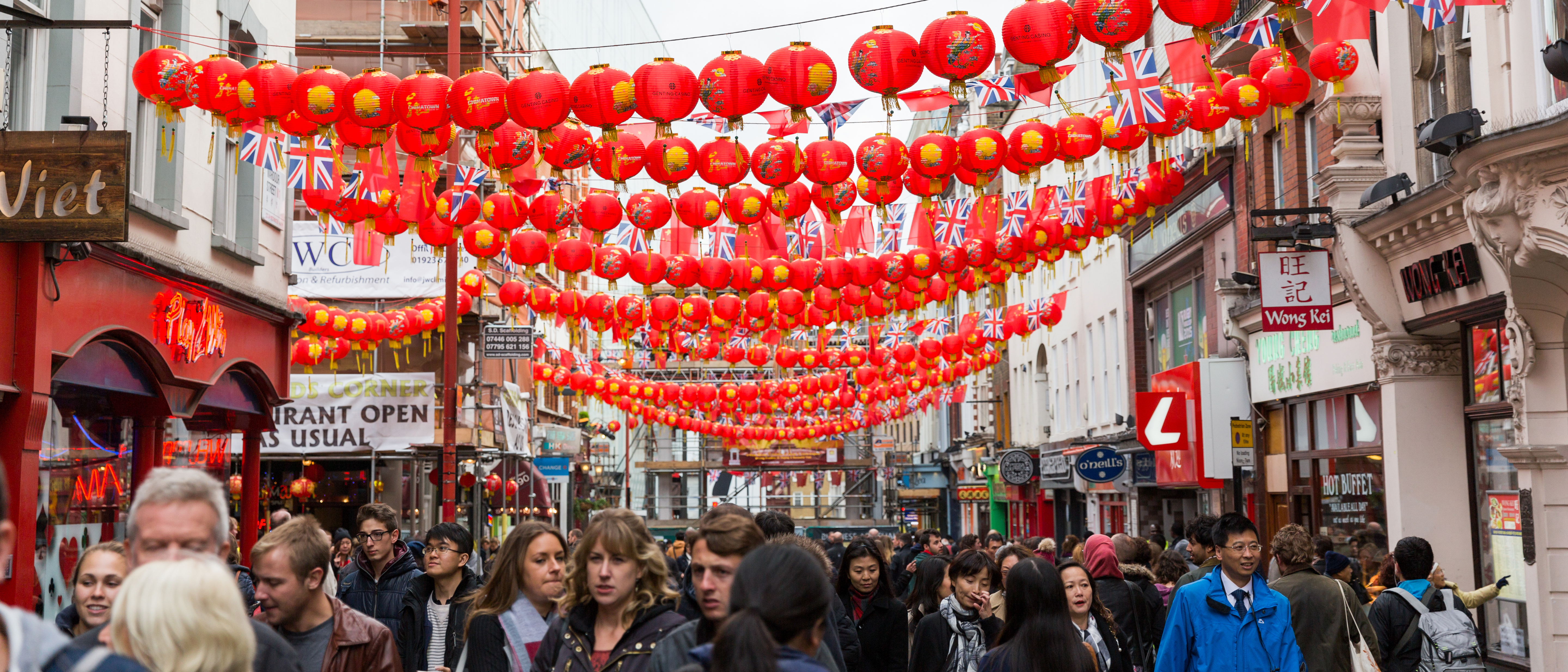 Chinese lanterns and flags, with UK flags, in London's Chinatown