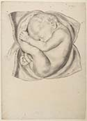 From James Douglas collection of anatomical drawings (MS Hunter DF86_15) depicting the foetus revealed by dissection of a woman near full term pregnancy at time of death. Douglas collection passed on his death to William Hunter, in whose collection they remain.