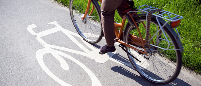 Image of a bicycle in a bike lane