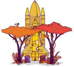 Space shuttle with trees illustration