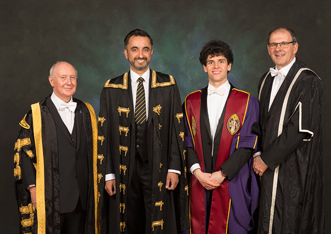 Image of, from left to right, Chancellor Sir Kenneth Calman, Rector Aamer Anwar, SRC President Ameer Ibrahim and Senior Vice-Principal, Professor Neal Juster.