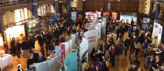 Overhead image of students at the Law Fair