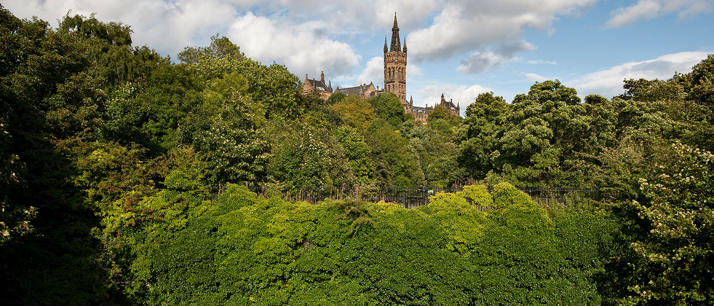 Kelvingrove Park with University Main Building in background