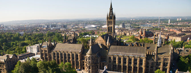 Image of University of Glasgow tower with SECC in background
