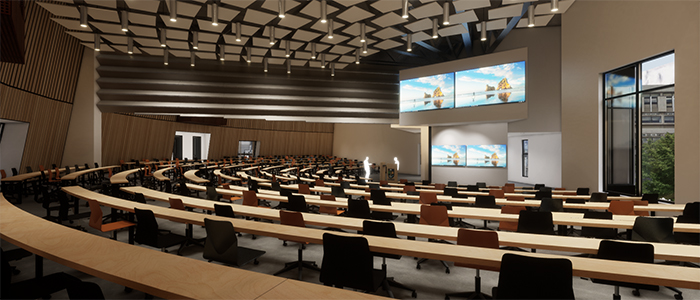 Visual impression of the Learning and Teaching Hub and lecture spaces