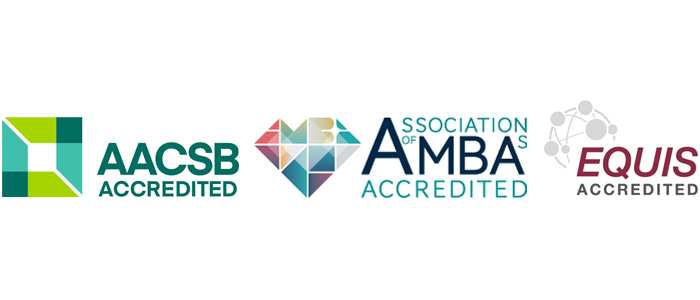 An image with three accreditation logos - AMBA, EQUIS and AACSB