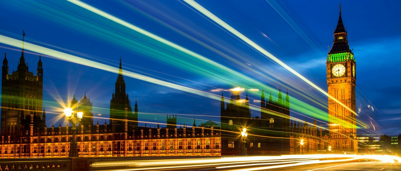 An enhanced image of the Houses of Parliament and Big Ben at night