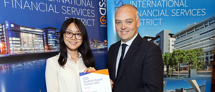 Photo of student, Rui Luo, with Kevin Rush, Head of Economic Development Glasgow City Council