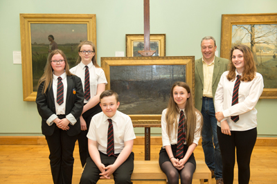 Jim Carruth, Poet Laureate of Glasgow and pupils from Lochend Community High School.