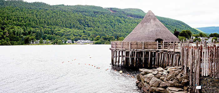 Image of the Loch Tay Crannog reconstruction