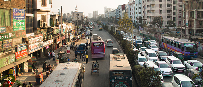 Street with many vehicles in the center of Dhaka in Bangladesh