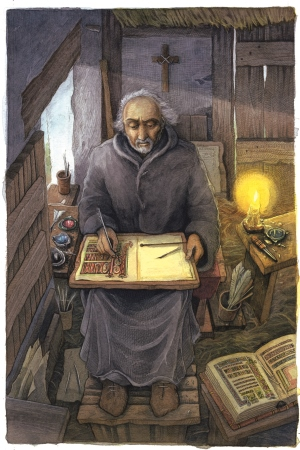 St Columba in his cell, reconstruction