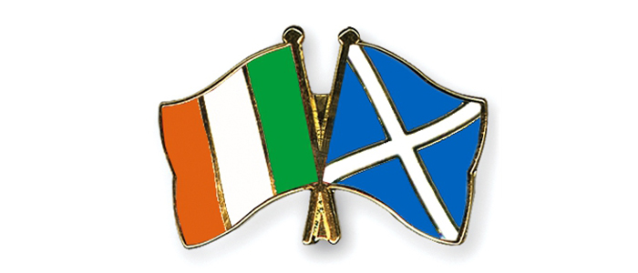 Flags of the Republic of Ireland and Scotland