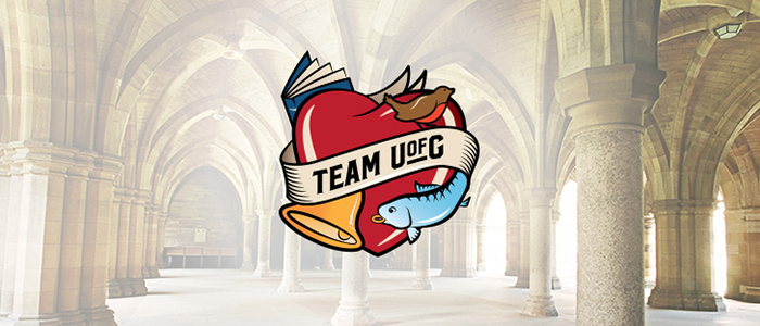 Team UofG logo in cloisters (700x300)