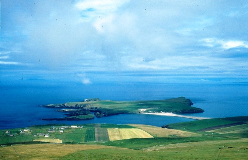 St Ninian's Isle is a small, now uninhabited, island off the south-west coast of mainland Shetland, to which it is joined by a sandy bar or tombolo.