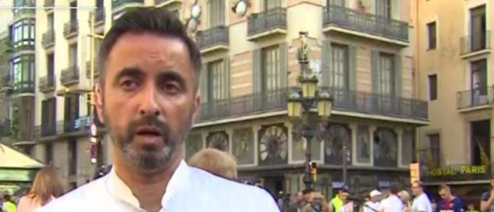 Image of the UofG Rector, Mr Aamer Anwar, speaking on BBC News from Barcelona, courtesy BBC.