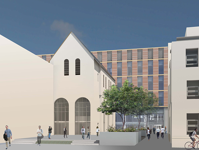 Impression of the proposed Research Hub building from Church Street - September 2017