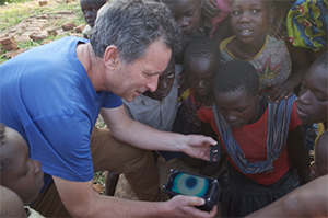 Professor Jon Cooper demonstrates mobile phone based diagnostic tool