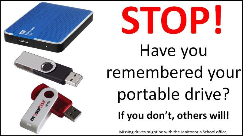 Graphic to remind users to take their portable drives with them