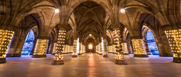 Image of the UofG cloisters with lights