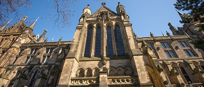 Image of the Gilbert Scott Building (skywards)