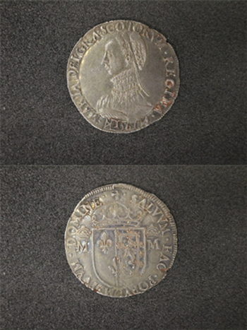 Mary Queen of Scots, testoon, 1561, third period, silver, Edinburgh, The Lord Stewartby Collection 2984