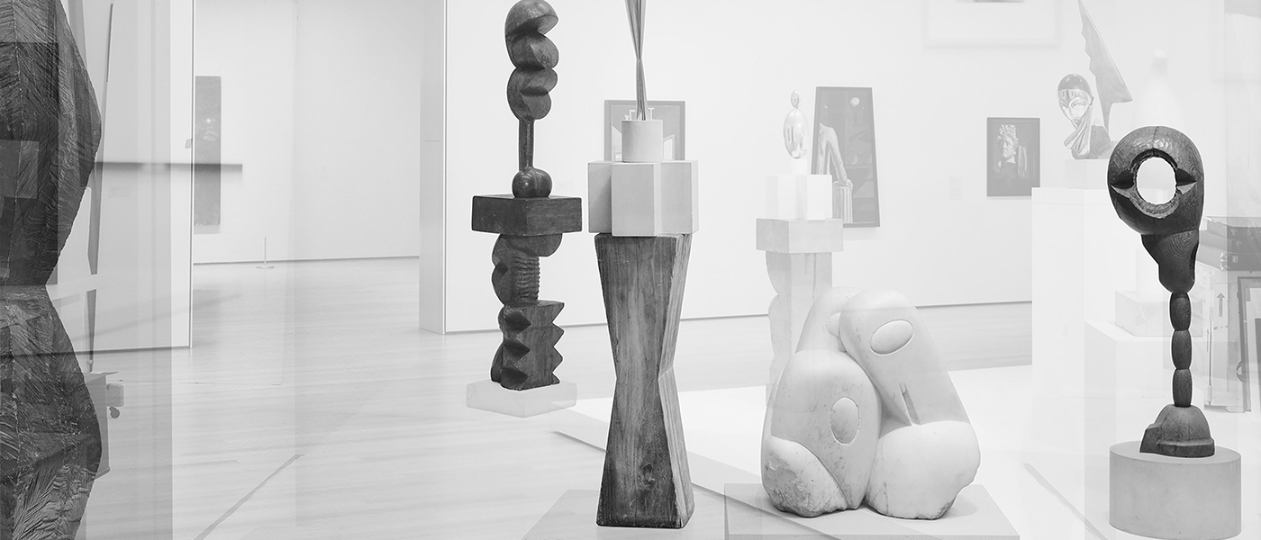Simon Starling, Pictures for an Exhibition 2013-2014, #12 of 36 Constantin Brancusi, Endless Column (1918), Adam & Eve (1916–21), Bird in Space (1926), Three Penguins (1911–12), Socrates (1922) (left to right).