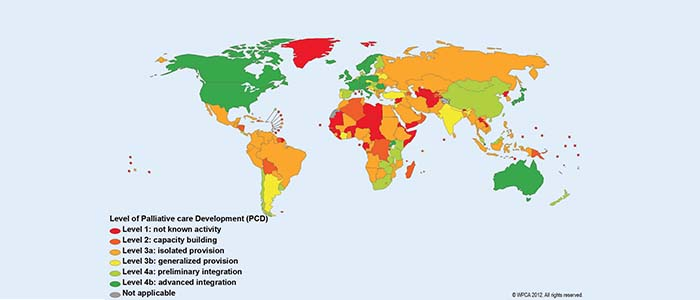 world map of palliative care development 2012