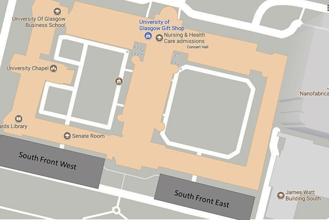 Image map showing parking restrictions on the South Front at Gilmorehill