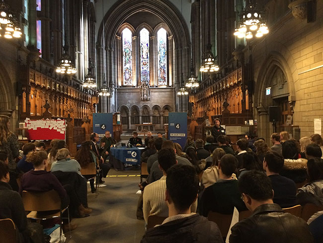 Veteran broadcaster Melvyn Bragg hosts BBC Radio 4's In Our Time at UofG's Memorial Chapel