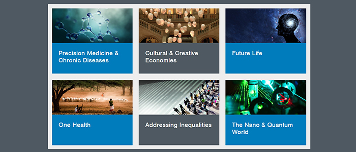 Image of the six Research Beacon themes as seen on the University website