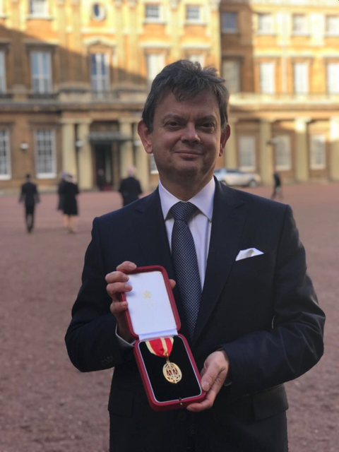 Professor Sir Anton Muscatelli at Buckingham Palace to receive his knighthood