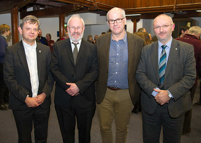 Left to right: Professor Sir Anton Muscatelli, the Principal and Vice-Chancellor; Professor Dauvit Broun, Professor of Scottish History and Director of ArtsLab; Professor Nigel Leask, a Fellows of the British Academy and Regius Chair of English Language and Literature; and Professor Roibeard Ó Maolalaigh, Vice-Principal and Head of the College of Arts.