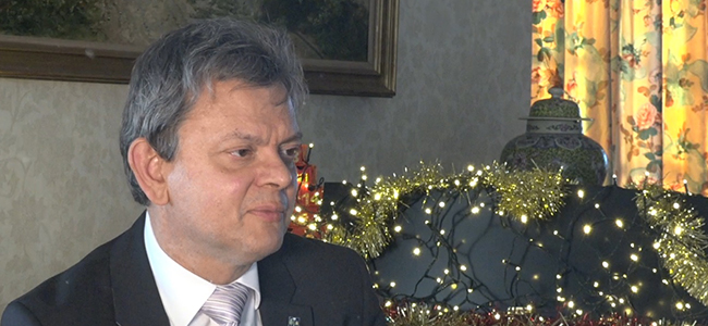 Image of the Principal taken from his Christmas broadcast 2017
