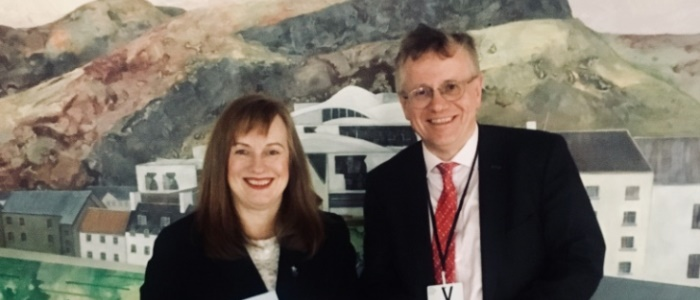 Joan McAlpine and Professor Murray Pittock after The Economic Potential of Robert Burns debate in the Scottish Parliament