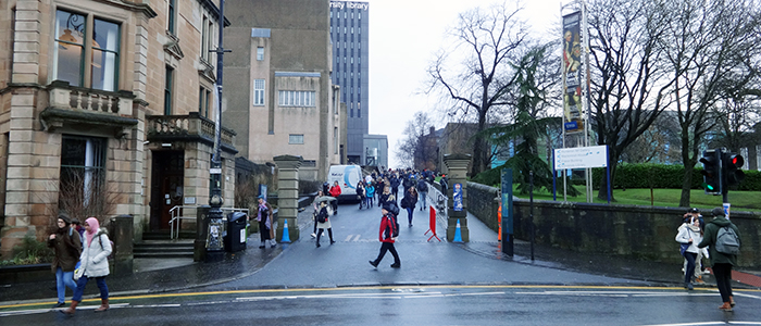 Image of the route up to the Library and Fraser Building from University Avenue