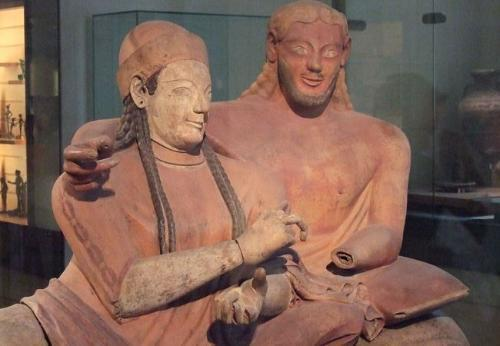 Couple reclining, ceramic burial sarcophagus, Cerveteri, Italy 520-510 BC. The Louvre