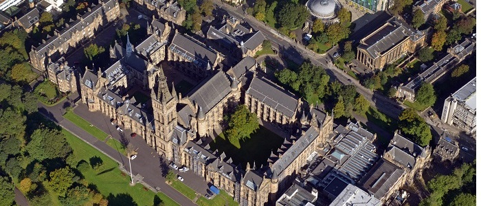 Ariel photograph of the main building of the University of Glasgow campus