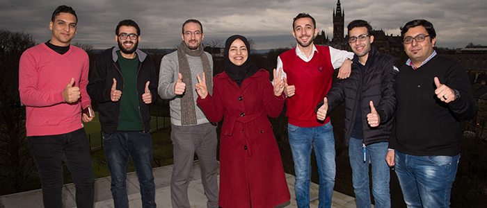 The largest single group of Palestinian students to take part in an exchange programme with a UK university have arrived in Glasgow.