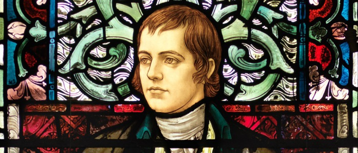 Robert Burns Stain glass window in Bute Hall