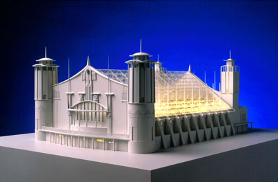 Concert Hall (1898), Charles Rennie Mackintosh, Glasgow International Exhibition Competition Entry for Kelvingrove Park. Laser cut clear acrylic, CNC-routered white acrylic, styrene, etched brass and fibre-optic lighting. Ozturk Modelmakers (2002/3).