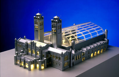 Railway Terminus (1892), Charles Rennie Mackintosh. RIBA Soane Medallion Competition Entry. Laser cut clear acrylic, CNC-routered white acrylic, styrene, etched brass detailing and fibre-optic lighting. Ozturk Modelmakers (2001).